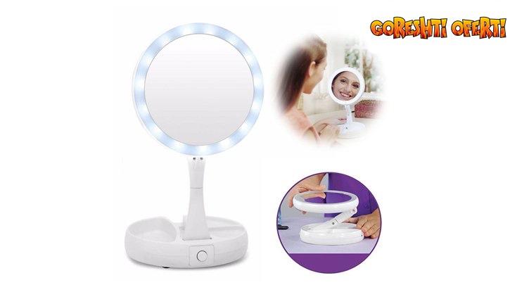 Двустранно LED огледало с увеличение х10 от едната страна  снимка #0