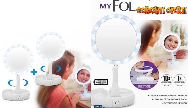 Двустранно LED огледало с увеличение х10 от едната страна  снимка #2