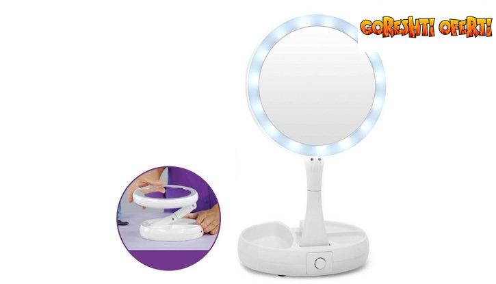 Двустранно LED огледало с увеличение х10 от едната страна  снимка #3