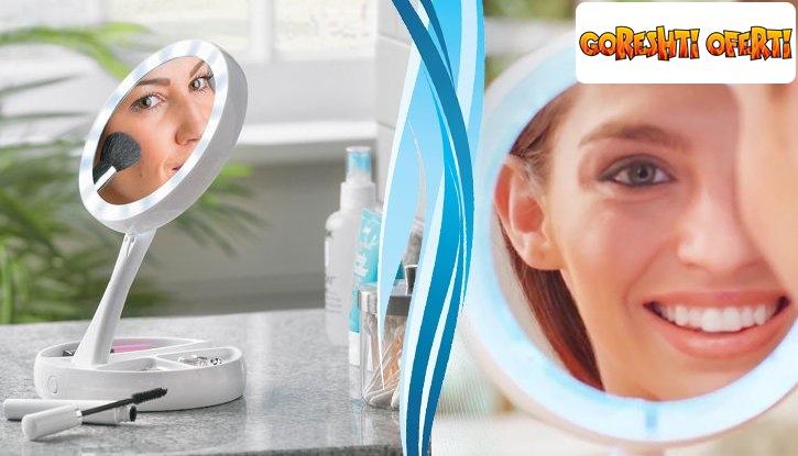 Двустранно LED огледало с увеличение х10 от едната страна  снимка #1