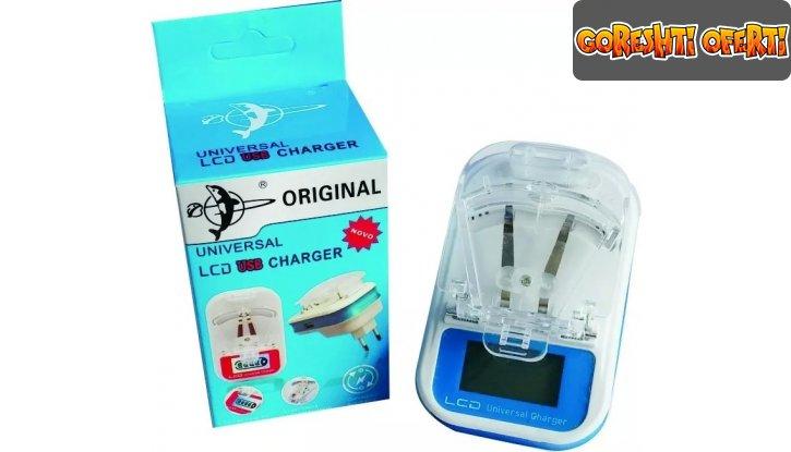 Универсално зарядно за батерии с LED дисплей и USB порт снимка #1